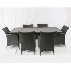 Conjunto mesa y 6 sillones para jardín Randers