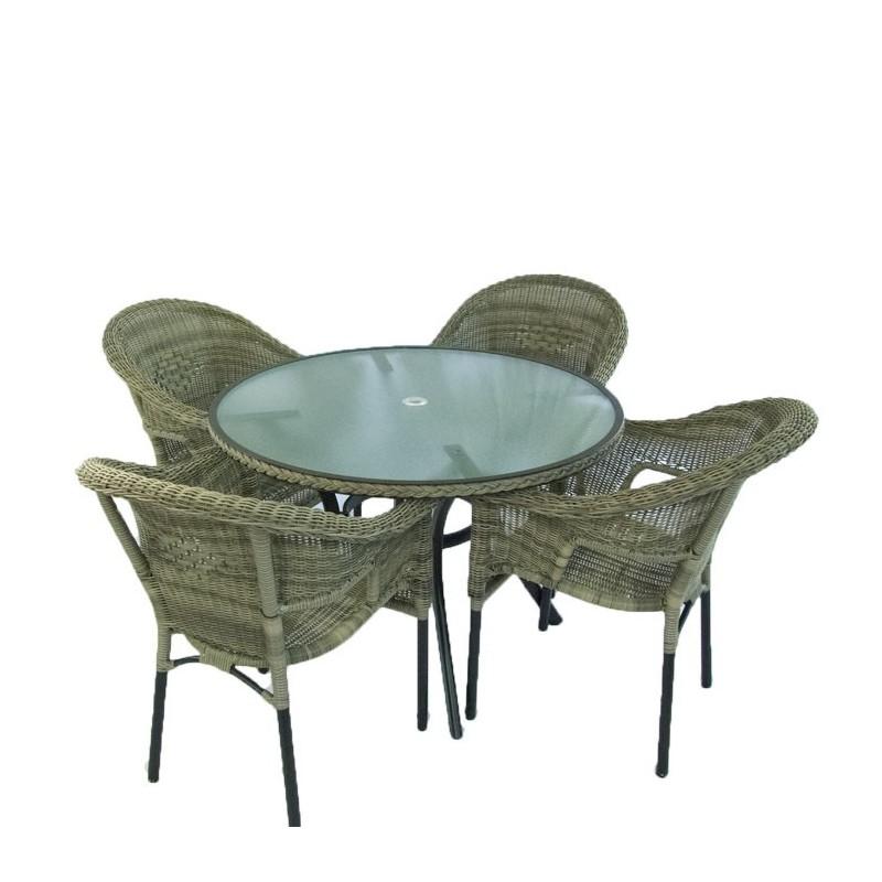 Conjunto de terraza mesa y 4 sillones boden for Sillones de terraza y jardin