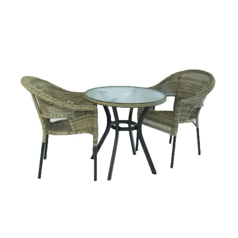Conjunto para jardin mesa redonda y 2 sillones boden - Conjuntos muebles jardin ...