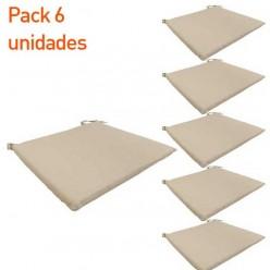 Cojín silla teca de jardín Textilene arena - Pack 6 unidades