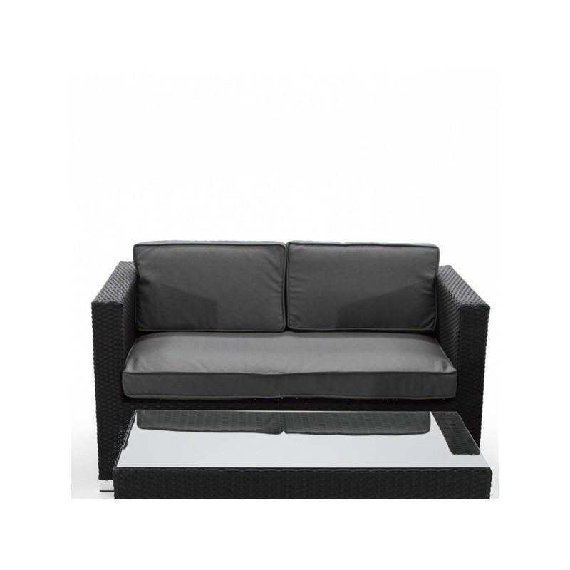 Sofa De Jardin Fibra Negro 2 Plazas Peoria