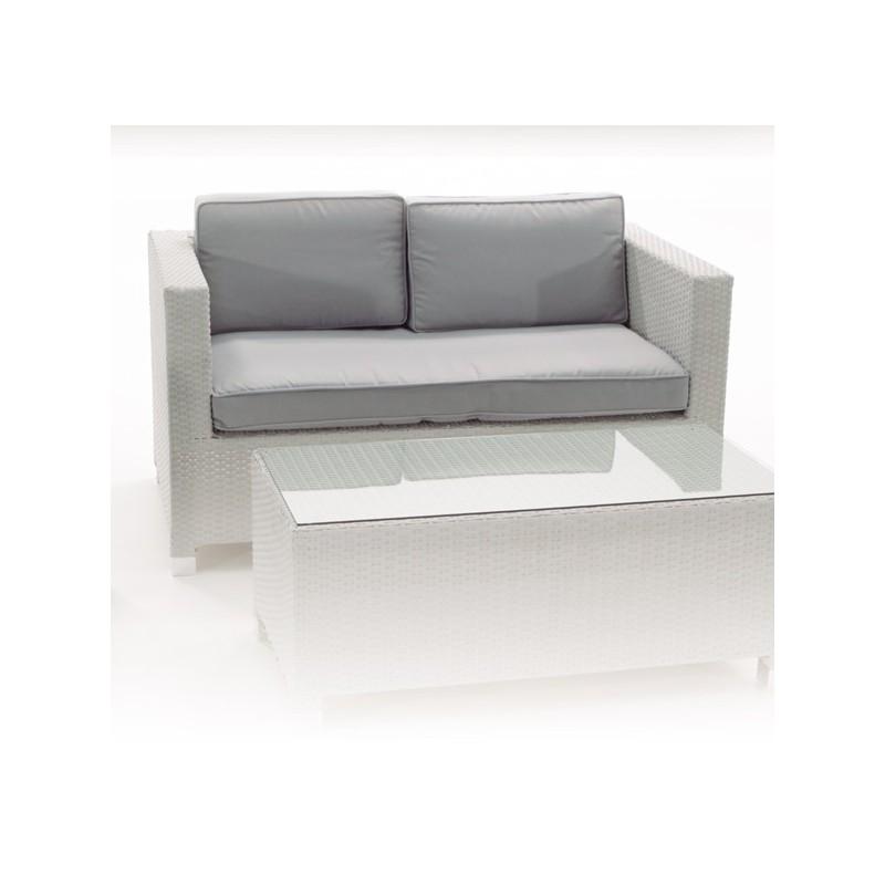 Conjunto de exterior sofas fibra blanco san luis for Sofa exterior blanco