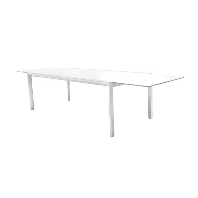 Mesa de terraza y cristal extensible themis for Muebles exterior aluminio blanco