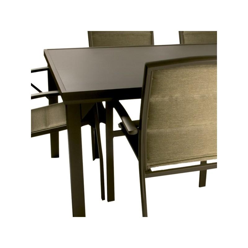 Mesa de aluminio de exterior outlet en mobiliario de for Conjunto mesa y sillas jardin oferta