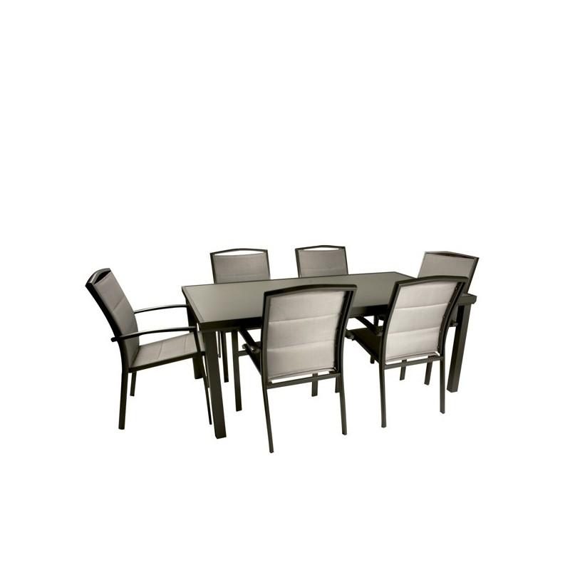 Mesa de aluminio de exterior outlet en mobiliario de for Conjunto sillones exterior