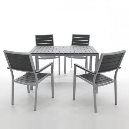 Mesa de exterior y resina imitacion madera washington for Conjunto jardin madera