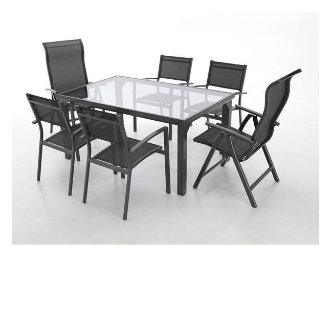 Conjunto mesa 4 sillones y 2 posiciones aluminio providence for Conjunto mesa jardin