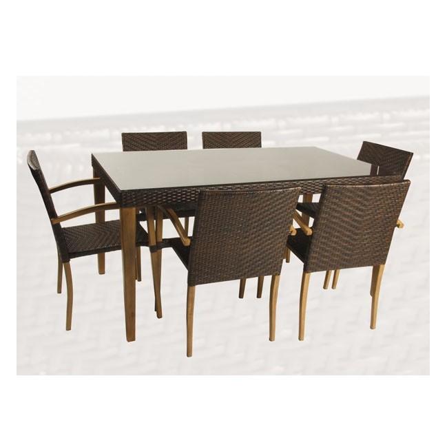Conjunto mesa y 6 sillones imitacion madera oklahoma for Conjunto jardin madera