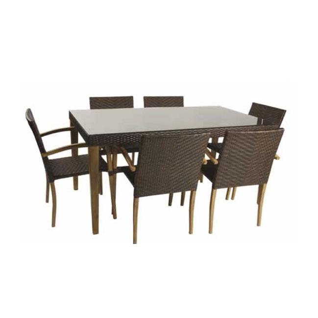 Conjunto mesa y 6 sillones para exterior imitacion madera for Sillones de madera para exterior