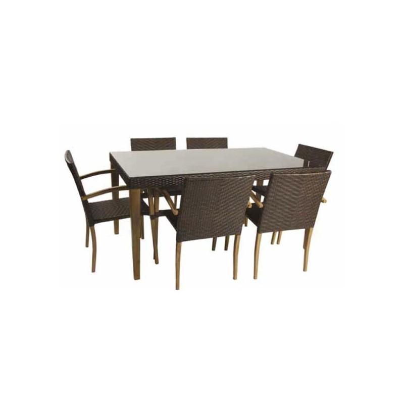 Conjunto mesa y 6 sillones para exterior imitacion madera for Mesas y sillas de madera para exterior