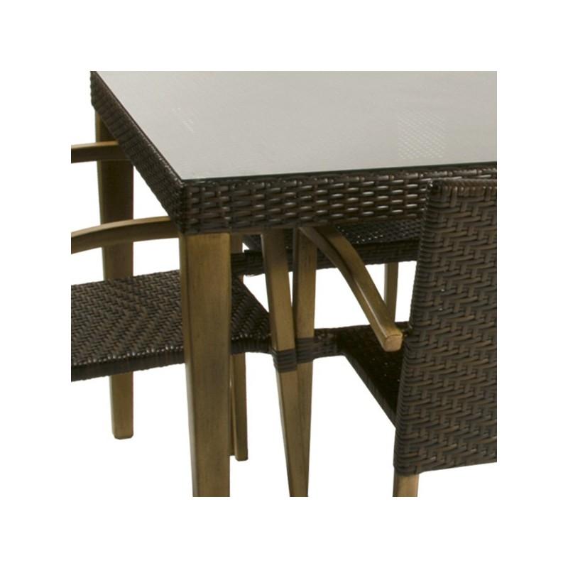 Conjunto mesa y 6 sillones para exterior imitacion madera for Conjuntos de jardin en aluminio