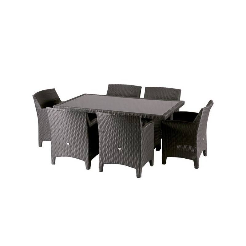 Conjunto de jardin mesa y 6 sillones black miami for Sillones para terrazas precios