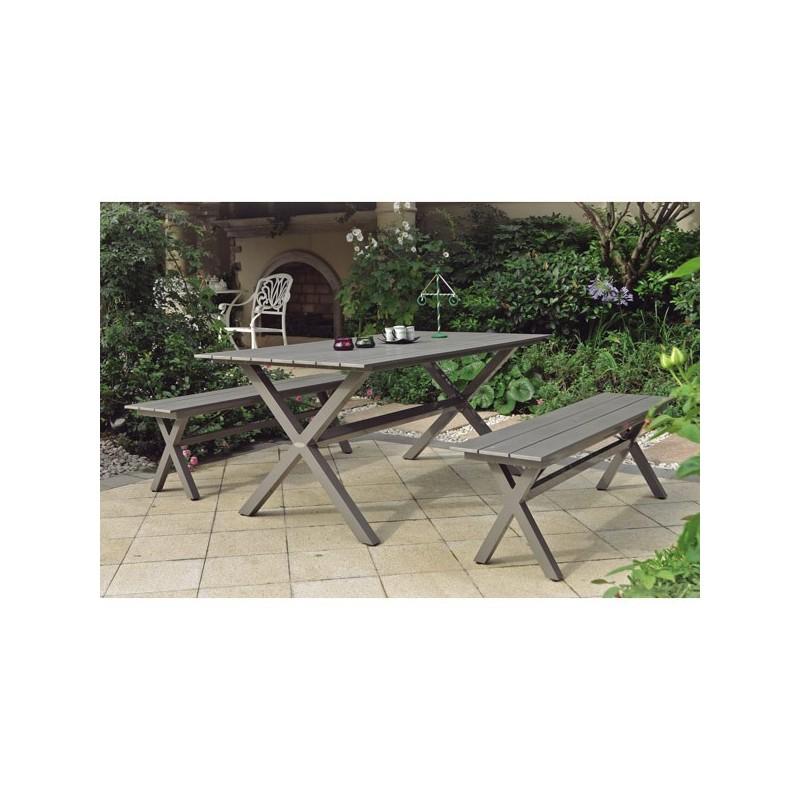 Conjunto mesa y 2 bancos camping exterior for Conjunto mesa y sillas exterior