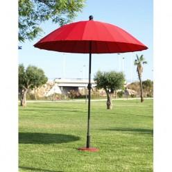 Parasol redondo para jardín rojo