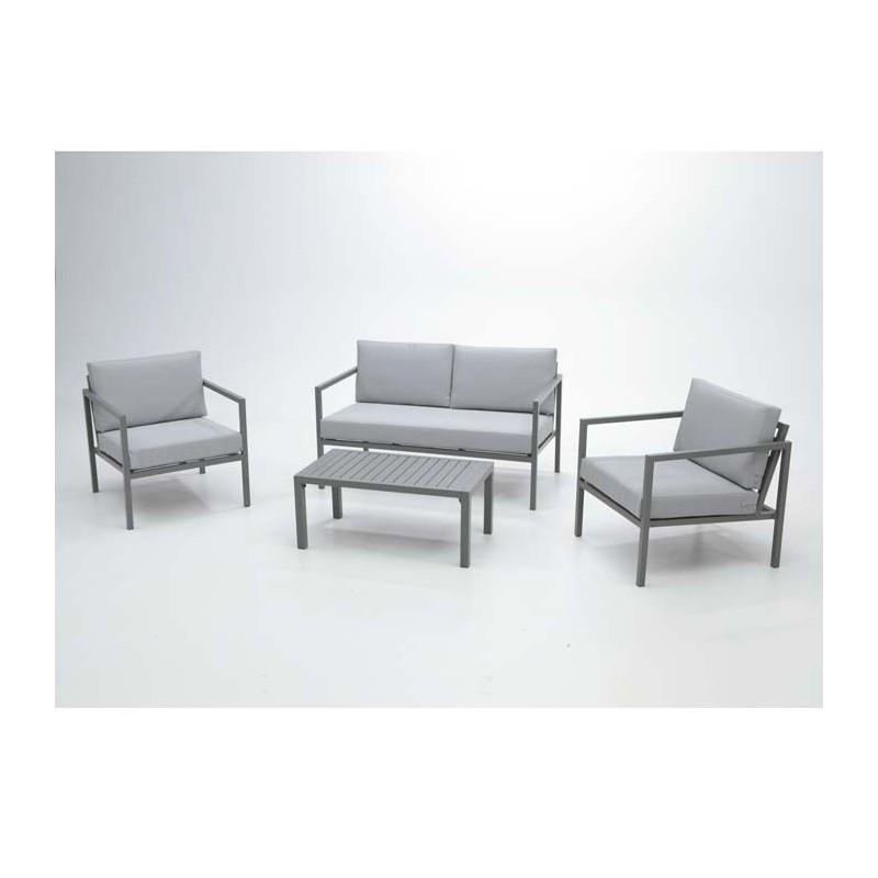 conjunto de jardin aluminio gris lowa