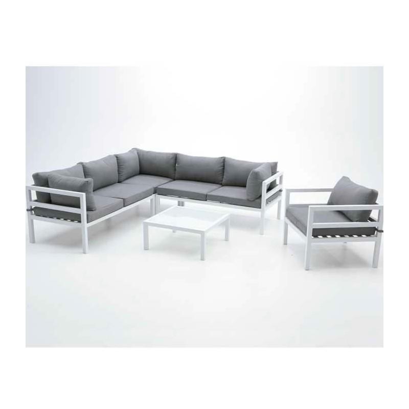 Conjunto modular para exterior aluminio akron for Sofa exterior aluminio blanco