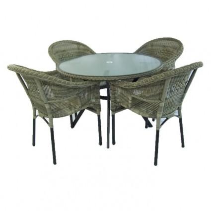 Conjunto de terraza mesa y 4 sillones Boden