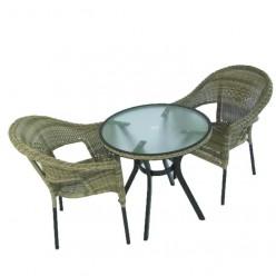 Conjunto para jardín mesa redonda y 2 sillones Boden