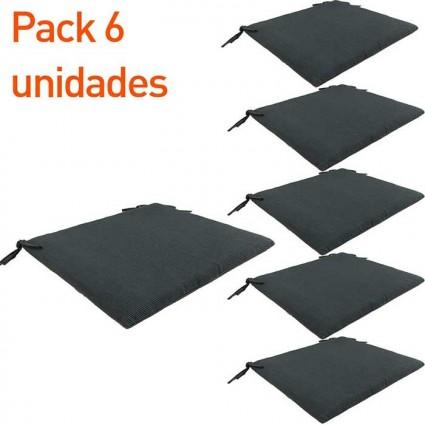 Cojín para silla teca de jardín Lux antracita - Pack 6 unidades