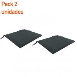 Cojín para silla teca de jardín Lux antracita - Pack 2 unidades