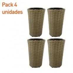 Pack 4 maceteros de terraza cono 25 cm