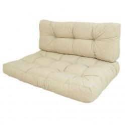 Cojines para palets asiento y respaldo Lux crema