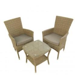 Conjunto mesa y sillas jardín. Mesa auxiliar y 2 sillones apilables Vasteras