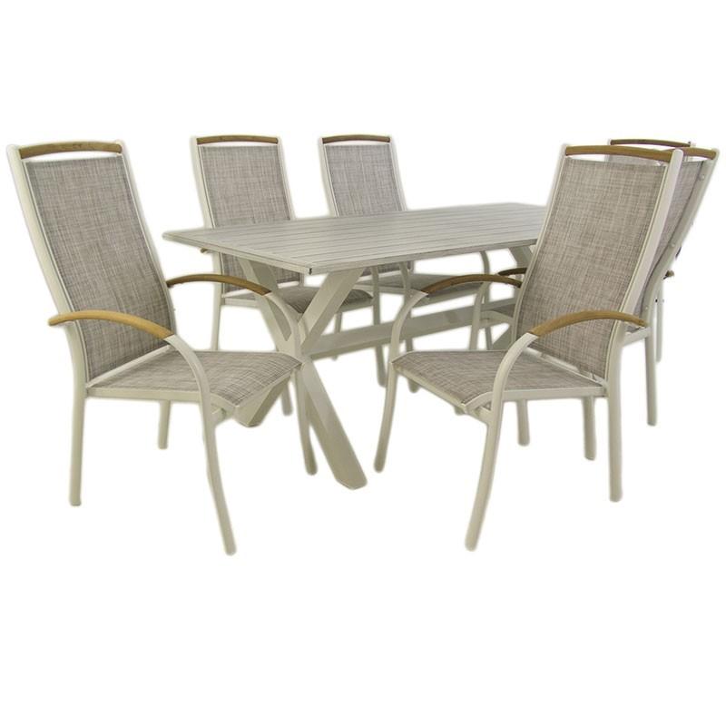 Conjunto para jardin mesa 190 cm y 6 sillones terraza for Sillones para terrazas y jardines