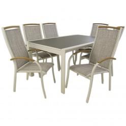 Conjunto mesa jardín extensible 160/210 y 6 sillones apilables Laver