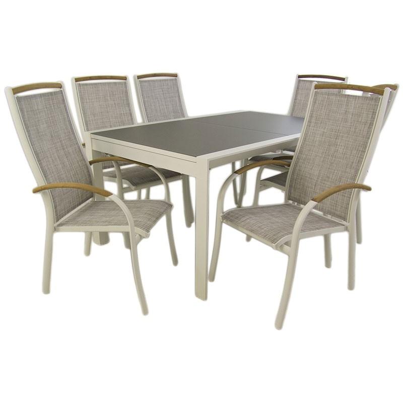 Conjunto mesa jardin extensible 160 210 y 6 sillones for Ofertas muebles jardin
