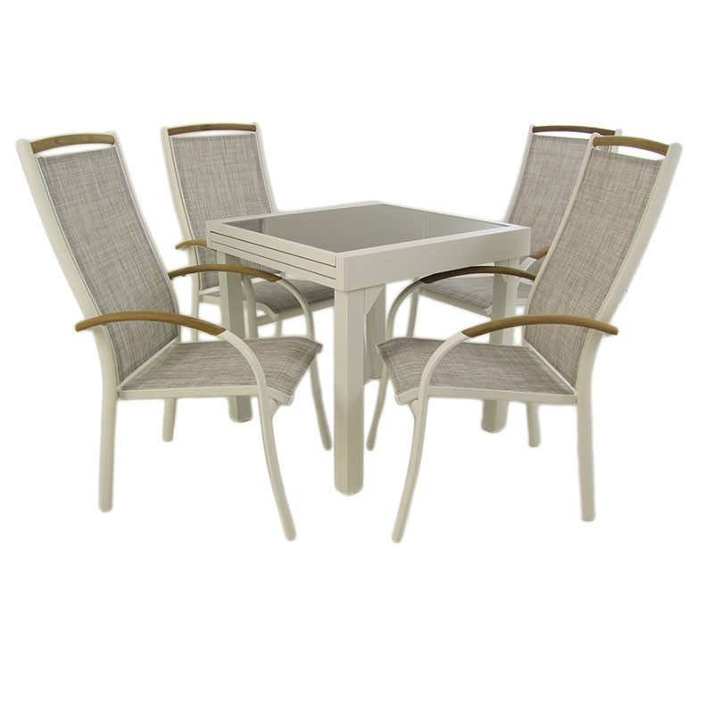 Conjunto de exterior mesa extensible 80 160 y 4 sillones for Oferta conjunto jardin