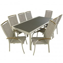 Conjunto para jardín. Mesa extensible 200/300 y 8 sillones apilables Laver