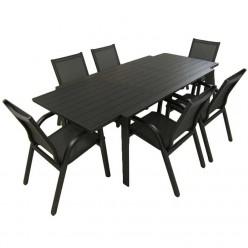 Conjunto mesa terraza extensible 160/220 y 6 sillones aluminio reforzado Antracita