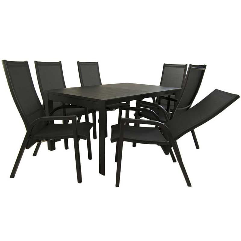 Conjunto mesa extensible 160 220 y 6 sillones de jardin for Oferta conjunto jardin