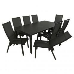 Conjunto de exterior. Mesa extensible 200/300 y 8 sillones reclinables Antracita