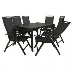Conjunto jardín. Mesa aluminio y 6 sillones reclinables Antracita