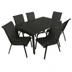 Conjunto mesa aluminio y 6 sillones apilables Antracita