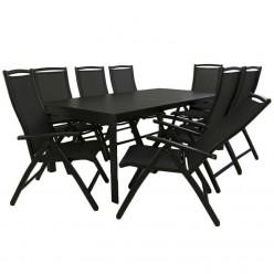 Conjunto jardín. Mesa extensible 300 cm y 8 sillones reclinables Antracita
