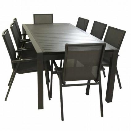 Conjunto mesa extensible 300 cm y 8 sillones apilables Antracita