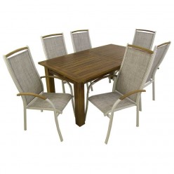Conjunto de jardín. Mesa teca Bistro 180 y sillones apilables