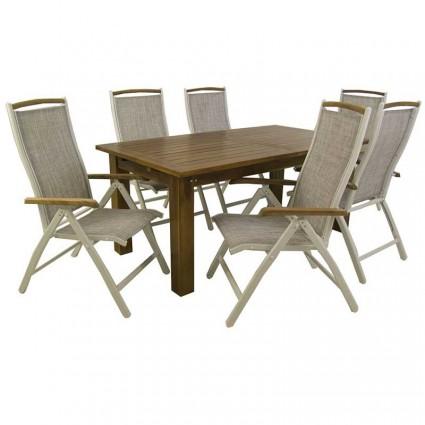 Conjunto mesa extensible Bistro y 6 sillones de exterior reclinables