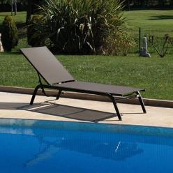 Tumbona piscina aluminio y textilene cafe