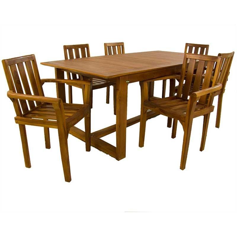 Conjunto mesa y 6 sillones apilables de madera teca for Conjunto sillones exterior