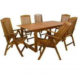 Conjunto mesa de teca y 6 sillones reclinables