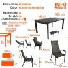 Conjunto mesa extensible 160/220 y 6 sillones de jardín reclinables Antracita