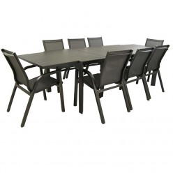 Conjunto muebles jardín. Mesa extensible 200/300 y 8 sillones reforzados Antracita