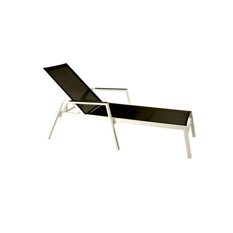 Tumbona para exterior aluminio blanco for Muebles exterior aluminio blanco