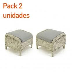 Resposapiés para jardín rattán sintético Sala - Pack 2 unidades