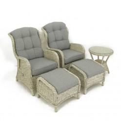 Conjunto de exterior. Mesita, 2 sillones reclinables y 2 reposapiés Sala