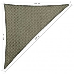 Toldo vela 5 x 5 x 7,1 m triangular de jardín gris claro